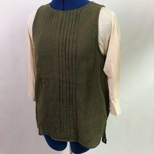 Gap Pleaded hunter green camisole keyhole blouse S